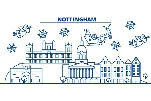 Great Britain, Nottingham winter city skyline. Merry Christmas, Happy New Year decorated banner with Santa Claus.Winter greeting line card.Flat, outline vector.Linear christmas snow illustration