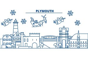 Great Britain, Plymouth winter city skyline. Merry Christmas, Happy New Year decorated banner with Santa Claus.Winter greeting line card.Flat, outline vector.Linear christmas snow illustration