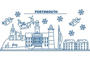 Great Britain, Portsmouth winter city skyline. Merry Christmas, Happy New Year decorated banner with Santa Claus.Winter greeting line card.Flat, outline vector.Linear christmas snow illustration
