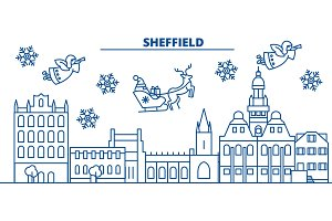Great Britain, Sheffield winter city skyline. Merry Christmas, Happy New Year decorated banner with Santa Claus.Winter greeting line card.Flat, outline vector.Linear christmas snow illustration
