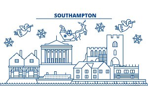 Great Britain, Southampton winter city skyline. Merry Christmas, Happy New Year decorated banner with Santa Claus.Winter greeting line card.Flat, outline vector.Linear christmas snow illustration