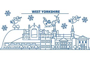 Great Britain, West Yorkshire winter city skyline. Merry Christmas, Happy New Year decorated banner with Santa Claus.Winter greeting line card.Flat, outline vector.Linear christmas snow illustration