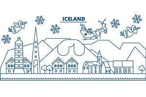 Iceland winter city skyline. Merry Christmas, Happy New Year decorated banner with Santa Claus.Winter greeting line card.Flat, outline vector.Linear christmas snow illustration