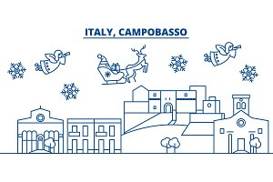 Italy, Campobasso winter city skyline. Merry Christmas, Happy New Year decorated banner with Santa Claus.Winter greeting line card.Flat, outline vector.Linear christmas snow illustration