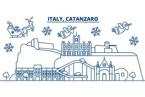 Italy, Catanzaro winter city skyline. Merry Christmas, Happy New Year decorated banner with Santa Claus.Winter greeting line card.Flat, outline vector.Linear christmas snow illustration
