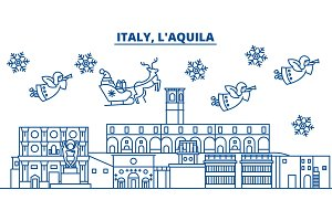 Italy, LAquila winter city skyline. Merry Christmas, Happy New Year decorated banner with Santa Claus.Winter greeting line card.Flat, outline vector.Linear christmas snow illustration
