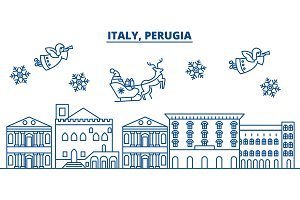 Italy, Perugia winter city skyline. Merry Christmas, Happy New Year decorated banner with Santa Claus.Winter greeting line card.Flat, outline vector.Linear christmas snow illustration