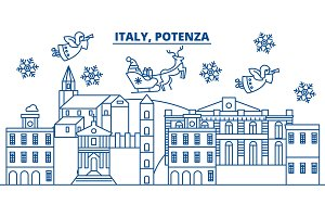 Italy, Potenza winter city skyline. Merry Christmas, Happy New Year decorated banner with Santa Claus.Winter greeting line card.Flat, outline vector.Linear christmas snow illustration
