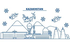 Kazakhstan winter city skyline. Merry Christmas, Happy New Year decorated banner with Santa Claus.Winter greeting line card.Flat, outline vector.Linear christmas snow illustration
