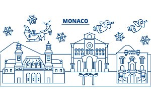 Monaco winter city skyline. Merry Christmas, Happy New Year decorated banner with Santa Claus.Winter greeting line card.Flat, outline vector.Linear christmas snow illustration