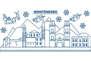 Montenegro winter city skyline. Merry Christmas, Happy New Year decorated banner with Santa Claus.Winter greeting line card.Flat, outline vector.Linear christmas snow illustration