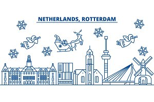 Netherlands, Rotterdam winter city skyline. Merry Christmas, Happy New Year decorated banner with Santa Claus.Winter greeting line card.Flat, outline vector.Linear christmas snow illustration