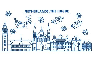 Netherlands, The Hague winter city skyline. Merry Christmas, Happy New Year decorated banner with Santa Claus.Winter greeting line card.Flat, outline vector.Linear christmas snow illustration