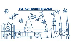 North Ireland, Belfast winter city skyline. Merry Christmas, Happy New Year decorated banner with Santa Claus.Winter greeting line card.Flat, outline vector.Linear christmas snow illustration