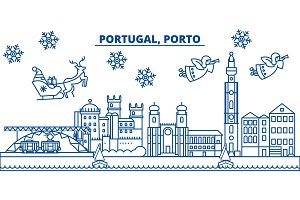 Portugal, Porto winter city skyline. Merry Christmas, Happy New Year decorated banner with Santa Claus.Winter greeting line card.Flat, outline vector.Linear christmas snow illustration