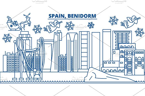 Spain, Las Palmas winter city skyline. Merry Christmas ...