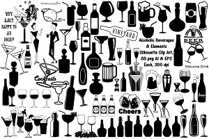 Alcohol Drink Silhouettes AI EPS PNG