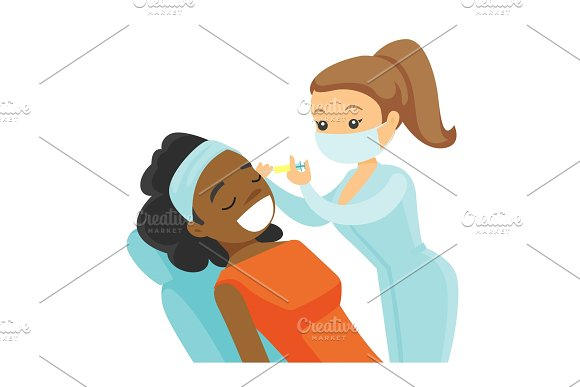 Woman Receiving Beauty Facial Injection In Salon