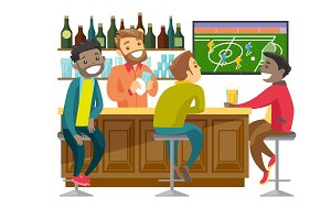 Multiethnic people watching football at sport bar.