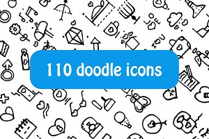 Doodle different things icons