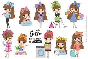 Cute Girl Clip Art Set EPS PNG