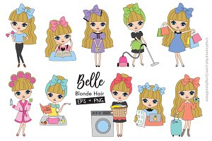 Blonde Haired Girl Clipart EPS PNG