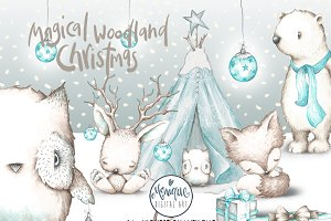 Woodland Christmas Animals Clipart