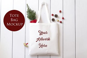 White Cotton Bag Mockup - Christmas