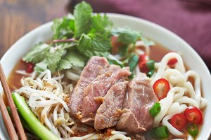 bowl of hot pho with beef