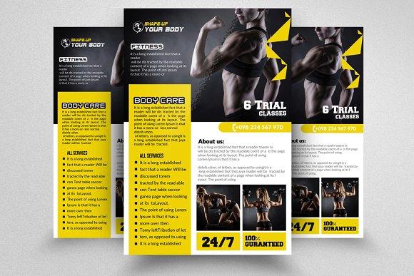 new fitness training flyer templates flyer templates creative market