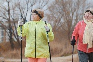 Two happy elderly women in autumn park have modern healthy training - nordic walking