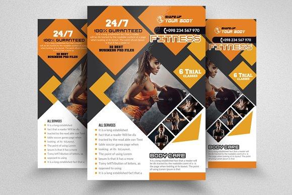 fitness training flyer templates flyer templates creative market