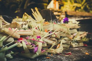 Traditional balinese offerings to gods in bali with flowers and aromatic sticks. Bali, Indonesia, Tirta Empul temple.