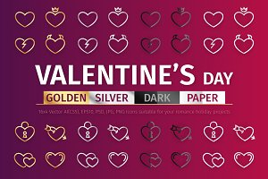 Gold & Silver Valentine's Day Icons