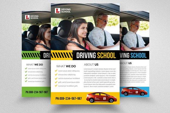 driving school flyer template flyer templates creative market