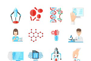 Nanotechnology Flat Icons Set