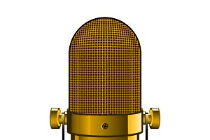 Realistic golden microphone