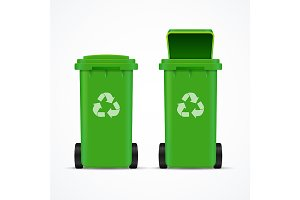 Realistic 3d Recycled Bins for Trash