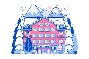Winter Ski Resort or Mountain Hotel