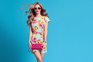 Fashion Young woman.Floral Dress, He