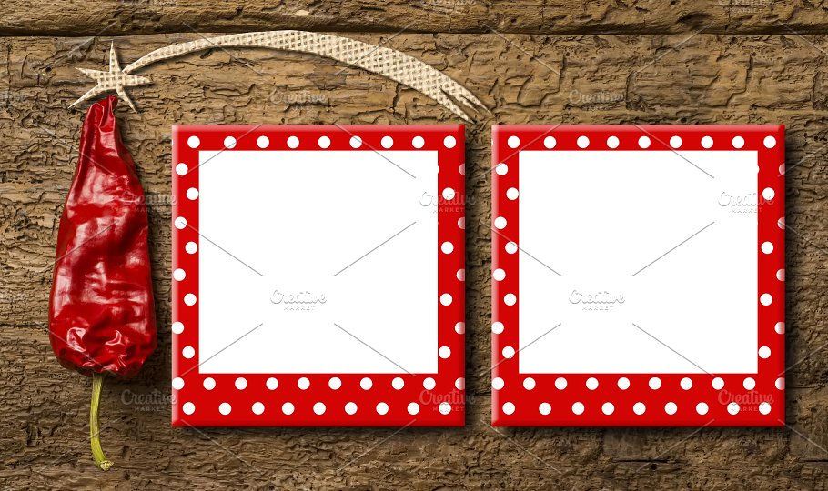 Christmas Two Frames Greeting Card Holiday Photos Creative Market
