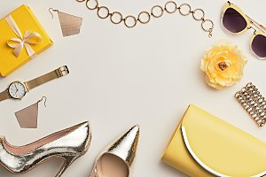 Fashion. Woman Accessories Set. Past