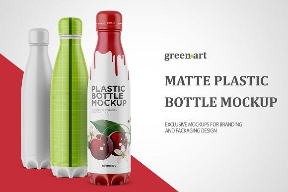 Download 500ml Bottle with Matte Label Mockup