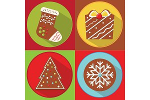 Christmas gingerbread cookies icons