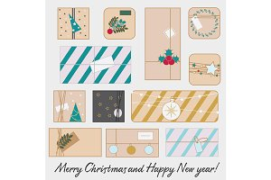 Christmas, new year gift boxes icons