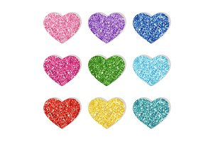 Cute glitter texture hearts set for your decoration