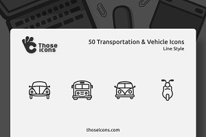 50 Transportation & Vehicles Icons