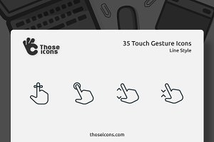 35 Touch Gestures Line Icon
