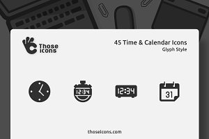 45 Time & Calendar Glyph Icon