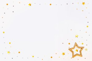 Holiday golden stars frame